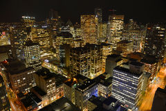 Vancouver City night view, BC, Canada. Vancouver city financial district at night, photo taken from the Harbour Centre tower, Vancouver, British Columbia, Canada Royalty Free Stock Image