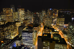 Vancouver City night view, BC, Canada Stock Photos