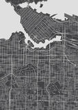 Vancouver city plan, detailed vector map. Print poster Royalty Free Stock Images