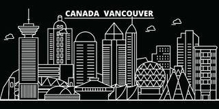Vancouver city silhouette skyline. Canada - Vancouver city vector city, canadian linear architecture. Vancouver city Stock Photography