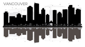 Vancouver City skyline black and white silhouette with reflectio Royalty Free Stock Photo