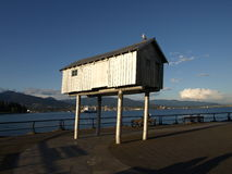 Vancouver  cityscape. Vancouver Canada cityscape with hut, sky and  gull Stock Photo