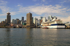 Vancouver  cityscape. Vancouver Canada cityscape in downtown with cruise ship Stock Photography