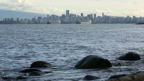 Vancouver Cityscape and Freighters stock video