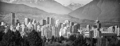 Vancouver Cityscape. A monochrome shot of Vancouver Cityscape with surrounding mountains in the background Royalty Free Stock Photography