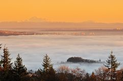 Vancouver cityscape and mt baker. In a foggy sunrise Stock Photo