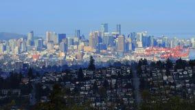 Vancouver cityscape som ses från Burnaby, Kanada arkivfoto