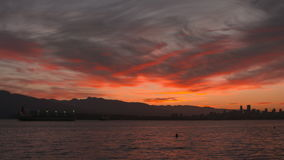 Vancouver cityscape sunrise 4K UHD. Early morning sunrise over English Bay, Vancouver. 4K. UHD stock video footage