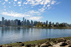 Vancouver Cityscape. View of Vancouver Harbour skyline with water in the foreground Royalty Free Stock Image