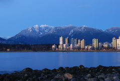 Vancouver Cityscape With Grouse Mountain Royalty Free Stock Photos