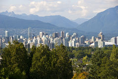 Vancouver Cityscene. Downtown Vancouver scene with north shore mountains Royalty Free Stock Images