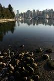 Vancouver Coal Harbor neighborhood. Seen from Stanley Park Stock Image