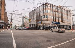 Vancouver - coin de Broadway et de Granville image libre de droits