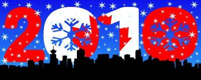 Vancouver con testo 2010 e la bandierina illustrazione vettoriale