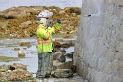 Vancouver Crew Cleans Seawall Stock Image