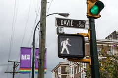 Vancouver Davie street with flags Stock Images