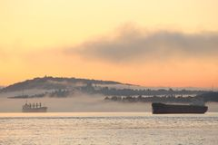Vancouver Dawn Freighters Royalty Free Stock Images