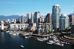 Vancouver downtown. Downtown Vancouver with boats in the foreground Royalty Free Stock Photos