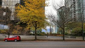 Vancouver downtown - fall with parked car Stock Image