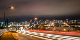 Vancouver downtown night at E 1th Ave Royalty Free Stock Image