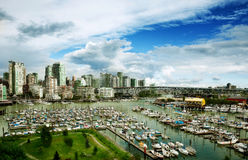 Vancouver downtown over Granville island Stock Images
