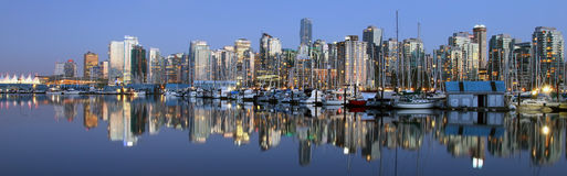 Vancouver downtown panoramic night Royalty Free Stock Photo