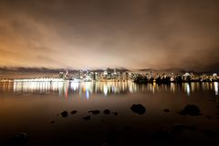 Vancouver downtown skyline at night, Canada BC Stock Photography
