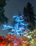 VANCOUVER DU NORD, CANADA - 27 janvier 2018 : La décoration d'éclairage de nouvelle année et de Noël chez Capilano jettent un pon Images libres de droits