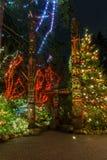 VANCOUVER DU NORD, CANADA - 27 janvier 2018 : La décoration d'éclairage de nouvelle année et de Noël chez Capilano jettent un pon Photo libre de droits
