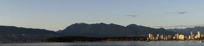 Vancouver English Bay panorama at dusk royalty free stock photography