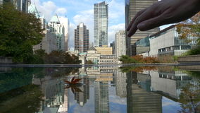 Vancouver establishing shot autumn. Downtown Vancouver office buildings day stock video