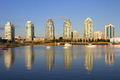 Vancouver evening , Canada. Vancouver waterfront with boats , Canada BC Stock Photos