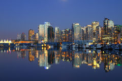 Vancouver evening , Canada. Vancouver evening skyline and boats in Canada BC Stock Photography