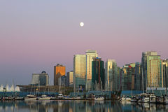 Vancouver evening , Canada. Vancouver evening skyline and boats in Canada BC Stock Photos