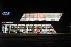Vancouver F. KR., Kanada - Januari 9, 2018: Kontor av den officiella återförsäljaren Audi Audi är en tysk biltillverkare som spec Royaltyfri Foto