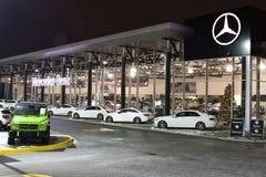 Vancouver F. KR., Kanada - Januari 9, 2018: Kontor av den officiella återförsäljaren Mercedes-Benz Mercedes-Benz är en tysk bilti Arkivfoto