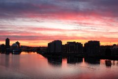 Vancouver, False Creek, Condominium Sunrise Stock Image