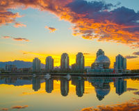 Vancouver, False Creek. An early morning. British Columbia, Canada. Vancouver, Canada - May 14, 2016. False Creek and Science World at TELUS World of Science Stock Photos
