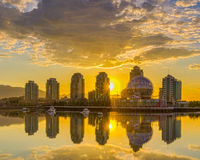 Vancouver, False Creek. An early morning. British Columbia, Canada. Vancouver, Canada - May 14, 2016. False Creek and Science World at TELUS World of Science Royalty Free Stock Images