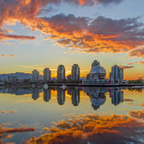 Vancouver, False Creek. An early morning. British Columbia, Canada. Vancouver, Canada - May 14, 2016. False Creek and Science World at TELUS World of Science Royalty Free Stock Photography