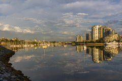 Vancouver, False Creek. An early morning. British Columbia, Canada. Vancouver, Canada - May 14, 2016. False Creek and Science World at TELUS World of Science Stock Photo