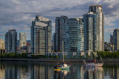 Vancouver, False Creek. An early morning. British Columbia, Canada. Vancouver, Canada - May 14, 2016. False Creek and Science World at TELUS World of Science Royalty Free Stock Image