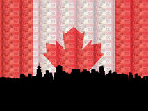 Vancouver with flag currency. Vancouver skyline with flag and currency of Canada Royalty Free Stock Images