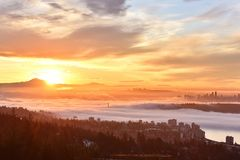Vancouver Foggy Sunrise Stock Photography