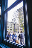 Vancouver Gastown - view through a window - VANCOUVER - CANADA - APRIL 12, 2017. Vancouver Gastown - view through a window Stock Images