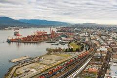 Vancouver-Hafen vom hohen Standpunkt stockbild