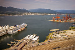 Vancouver Harbor in British Columbia showing docked cruise ship Royalty Free Stock Photo