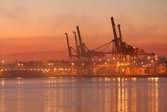 Vancouver Harbor Cargo Cranes Dawn Stock Photos