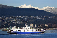 Vancouver Harbor Ferry Two Lions Mountains BC Stock Image