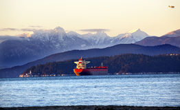 Vancouver Harbor Freighter Lighthouse BC Stock Photography